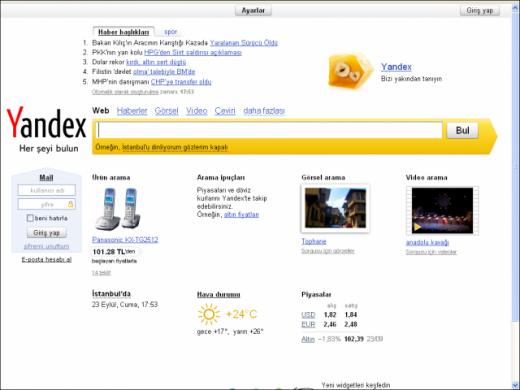 Yandex-Turkey-Homepage