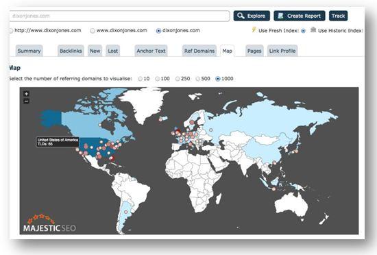 Global Link Analysis Map - Majestic SEO