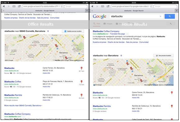 Local Search, Personalised Search on Geographic Location