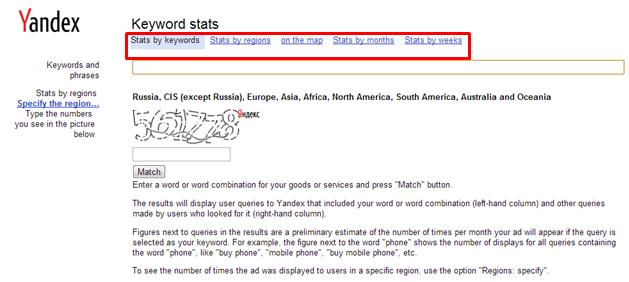 Yandex Keyword Stats, Filters