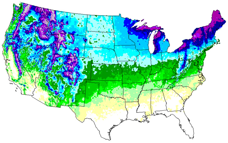 Usa Snowfall Map Winter 2012 2013