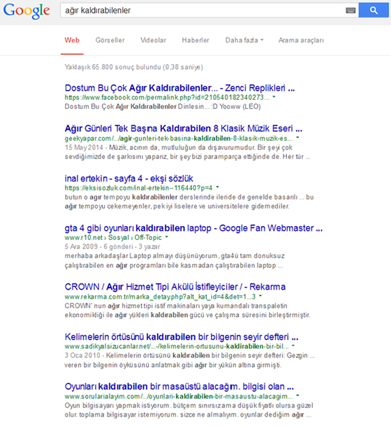 Google Search Results in Turkey