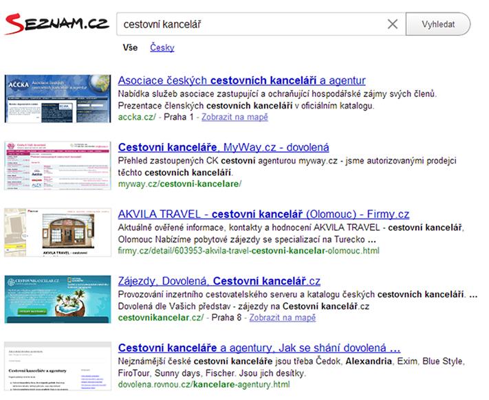 Example of Seznam Travel Websites