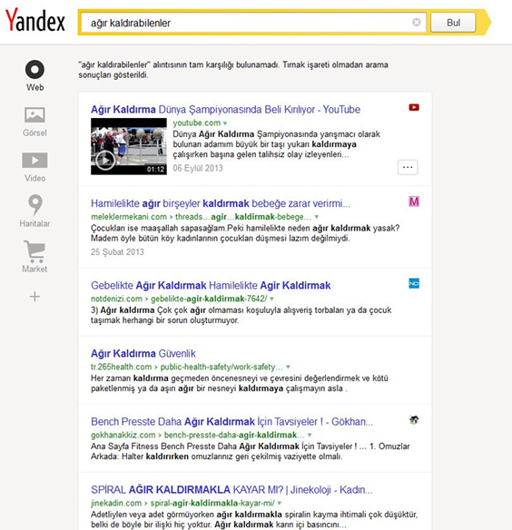 Yandex Search Results in Turkey
