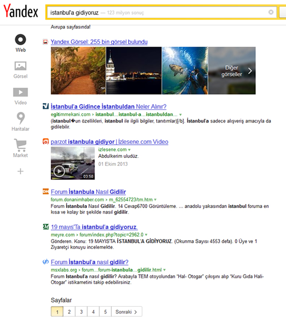 Yandex SERP in Turkey
