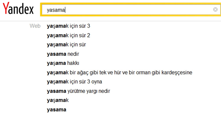 Yandex search in Turkish