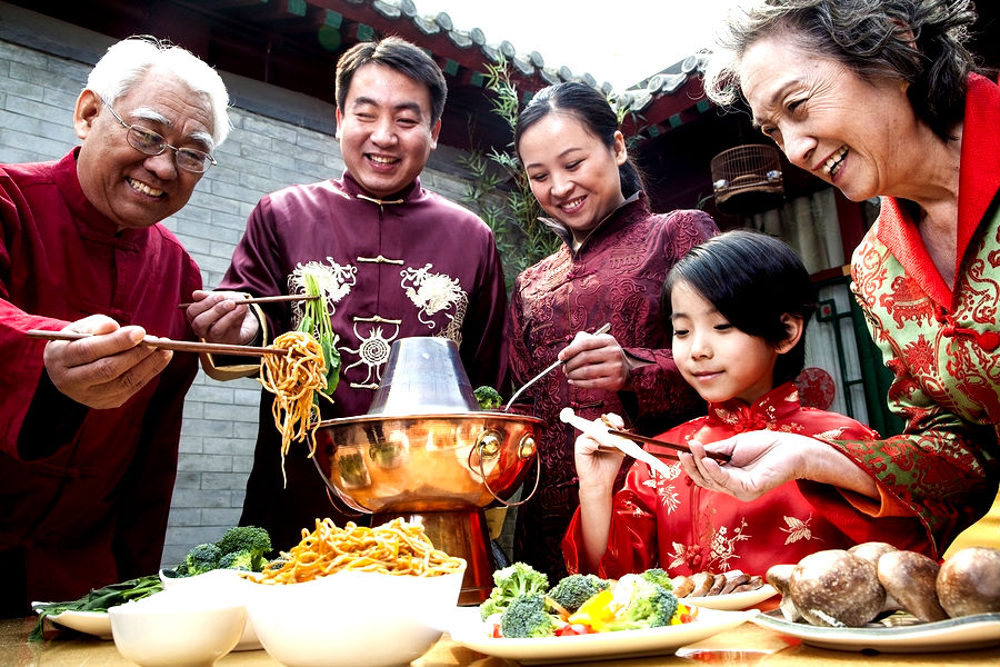Big Family Celebrating Chinese New Year Stock Photo ...